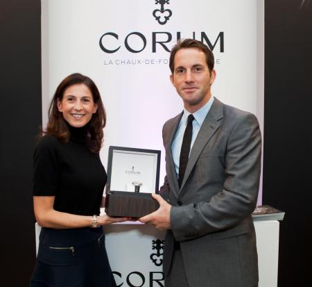 Marie-Alexandrine Leibowitch - Corum's Director of Public Relations - give to Ben Ainslie one Admiral's Cup Legend 42 Tourbillon Micro-Rotor.