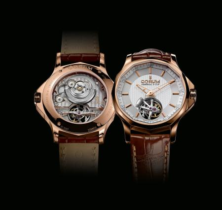 The Admiral's Cup Legend 42 Tourbillon Micro-Rotor : front side view and backside view.