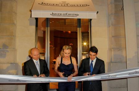 Ribbon Cutting of the Jaeger-LeCoultre Place Vendome Boutique with Guillain Maspetiol, Jaeger-LeCoultre Brand Manager for France, Diane Kruger, friend of Jaeger-LeCoultre and Jérôme Lambert, Jaeger-LeCoultre CEO.