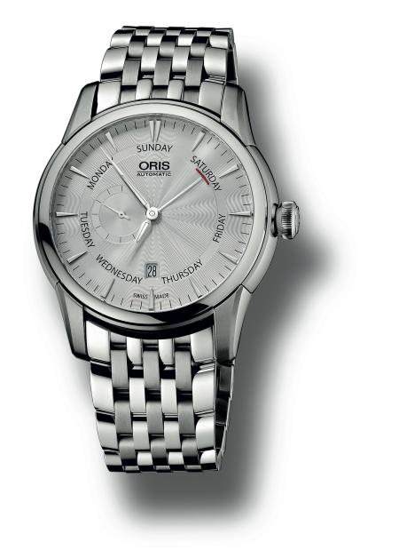 The Oris Artelier Small Second, Pointer Day with a steel strap.