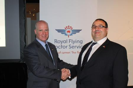 Peter Borghouts, General Manager of Oris Watches Australia, and Scott Chapman, CEO of Royal Flying Doctor Services, Australia.