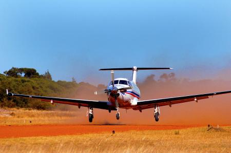 A Pilatus PC12 Airplane of the Royal Flying Doctor Services Australia, sponsored by Oris Watches, Switzerland.