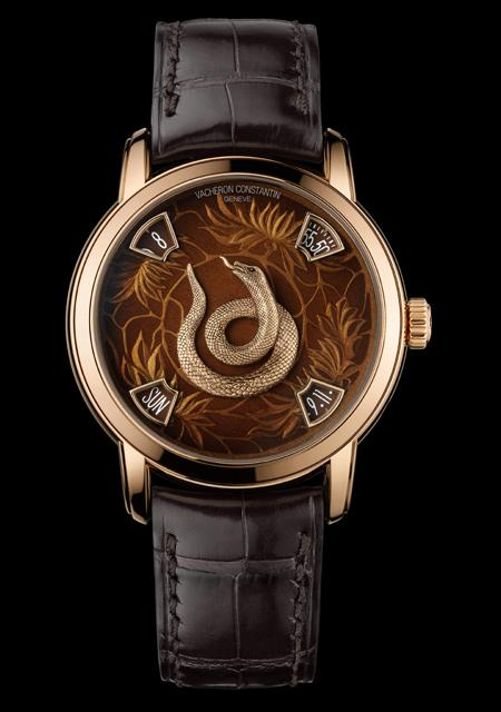 The Legend of the Chinese Zodiac - Year of the Snake - Pink Gold - Grand Feu Enamel Dial - Alligator Strap