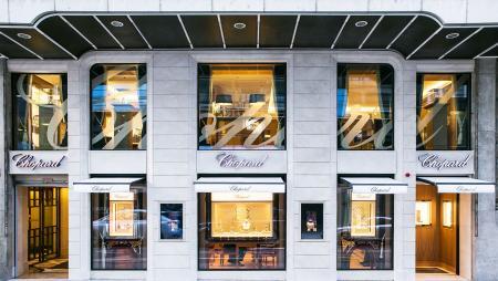 The facade of Chopard boutique on the Rue du Rhône in Geneva.