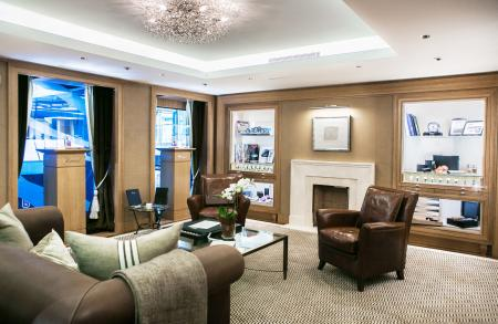 The plush and comfortable charm of the Chopard boutique on the Rue du Rhône in Geneva.