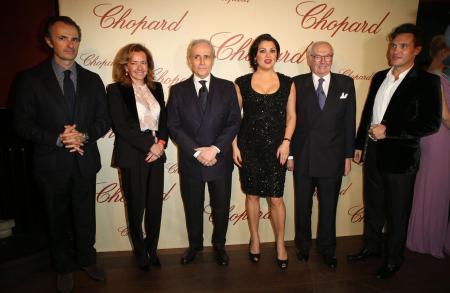 David Giménez, Caroline Scheufele, José Carreras, Anna Netrebko, Karl Scheufele and Erwin Schrott.
