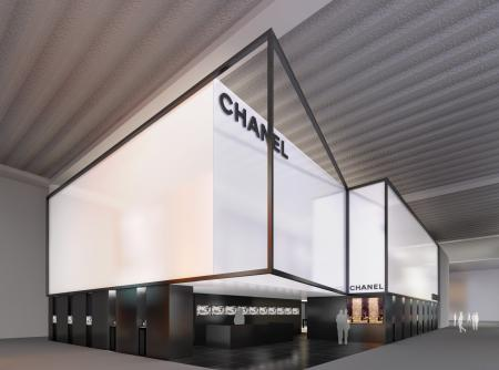 The Chanel Baselworld stand : a space which sublimates the color codes of the Chanel.