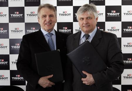 François Thiebaud, President of Tissot, and Eric Saintrond, FISU Secretary-General/CEO.