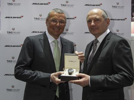 Jean-Christophe Babin, TAG Heuer's President & CEO, and Ron Dennis, Executive Chairman of the McLaren Group.