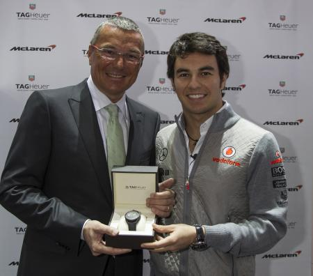 Jean-Christophe Babin and the mexican driver Sergio Perez, new TAG Heuer ambassador.