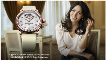 Inès Sastre, charity ambassador of Frédérique Constant, and one the watches created to support the Hearts of Children.