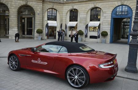 An Aston Martin parked in front of the Jaeger Lecoultre store in place Vendôme