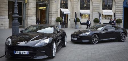 Two Aston Martin parked in front of Jaeger Lecoultre's store in place Vendôme