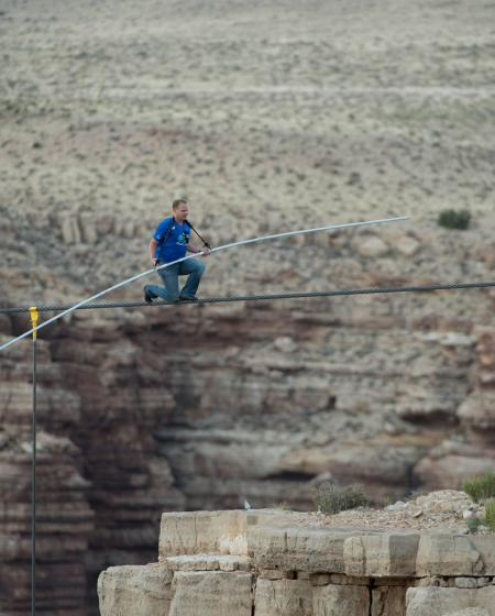 Nik Wallenda during his crossing of the Grand Canyon