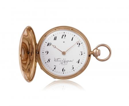 Ref. 10502 - 1826 - Hunting-case pocket watch, quarterrepeater, pink gold. Namel dial with 12 Arabic numerals, outer