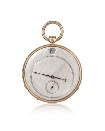 Ref. 11411 - 1827 - Pocket watch, quarter-repeater, jumping hours, 18K yellow gold. Silver dial, small seconds at 6 o'clock, minute track.