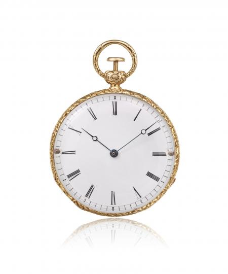 Ref. 10437 - 1839 ? Pocket watch, yellow gold, quarterrepeater. Enamel dial with 12 Roman numerals, outer minute track.