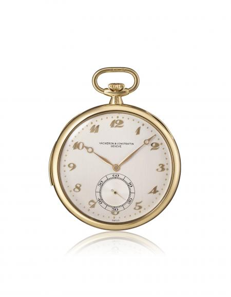 Ref. 10938 - 1938 - Pocket watch, minute-repeater, 18K yellow gold. Silvered dial, with 12 Arabic numerals, small seconds at 6 o'clock.