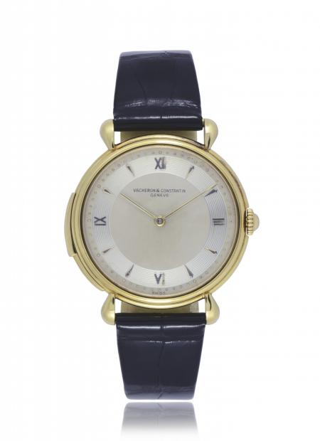 Ref. 10958 - 1950 - Gentleman's wristwatch, minuterepeater, 18K yellow gold. Silvered matt dial, guilloché hour-circle, gold indexes and Roman numerals, gold