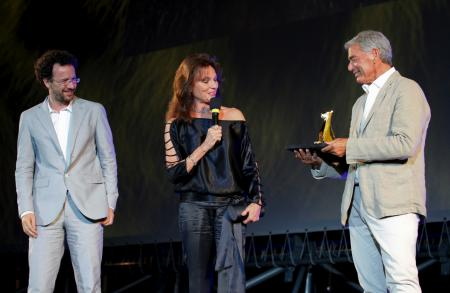 Jacqueline Bisset, Jean-Marc Jacot, CEO of Parmigiani, and Carlo Chatrian, artitistic director of the Festival dl Film Locarno