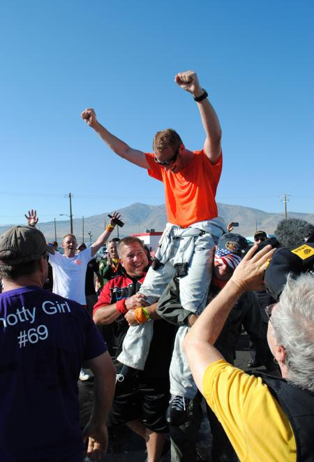 Oris sponsored Don Vito Wypraechtiger celebrates his Gold Race win as the first ever non-American champion at the 50th Reno Air Race.