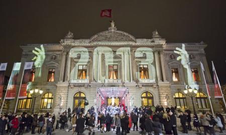 The Grand Théâtre de Genève lit up