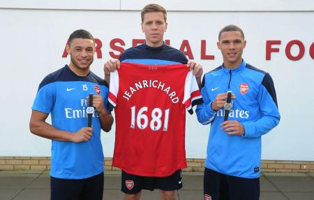 Arsenal football players Alex Oxlade-Chamberlain, Wojciech Szczesny and Kieran Gibbs