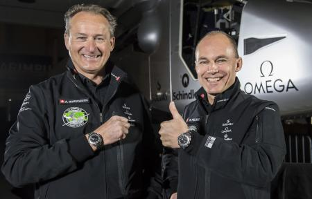 At the press conference, Bertrand Piccard and André Borschberg wore the OMEGA Speedmaster Skywalker X-33