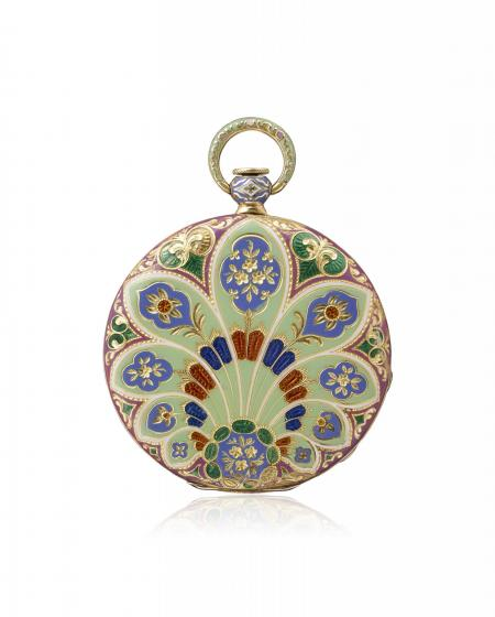 India 1831 – Pocket watch, yellow gold, champlevé enamelled case, in line engraving. Guilloché dial. N° 10450