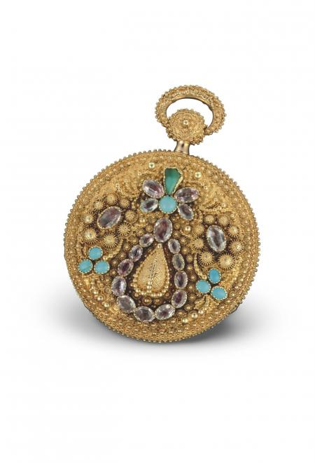 Ottoman 1824 - Pocket watch, pink gold, floral? pattern chased case and appliques engraved using the pounced ornament technique, embellished with turquoises and amethysts. Pink gold dial. N°11110