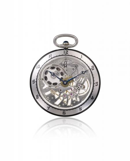 Late 19th century openworked architecture 1926 - Pocket watch, 18K white gold, rock crystal, enamel and onyx cabochon crown. German silver skeleton movement. N° 11131