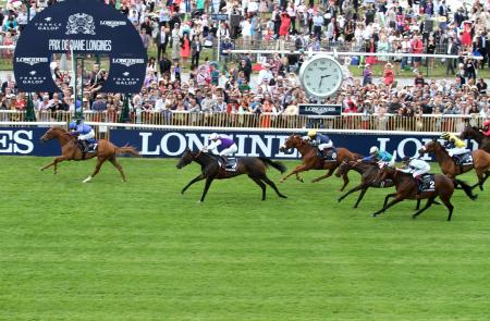 Finish line of the Prix Longines Future Racing Stars, won by Gary Halpin on Cantabrico.