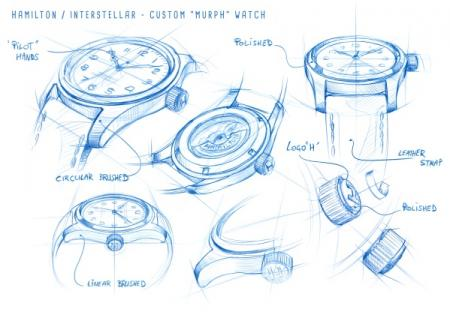 Drawings Hamilton Khaki Special Edition Interstellar - Worn by Murph (played by Jessica Chastain)