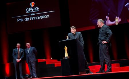Benjamin Clymer and William Rohr (jury members), Felix Baumgartner and Martin Frei (Co-founders of Urwerk, winner of the Innovation Watch Prize 2014)