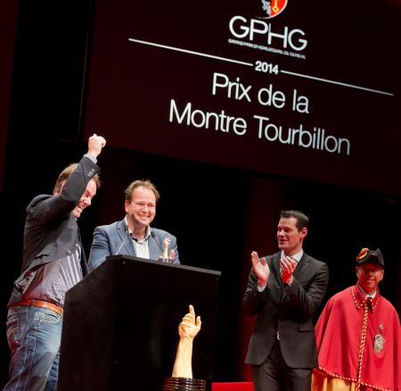 Bart and Tim Grönefeld (Co-founders of Grönefeld, winner of the Tourbillon Watch Prize 2014) and Pierre Maudet (State councillor)