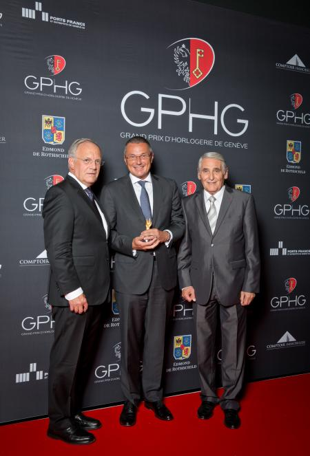 Johann Schneider-Ammann (Federal councillor), Jean-Christophe Babin (CEO of Bulgari, winner of the Jewellery Watch Prize 2014) and Carlo Lamprecht (President of the Foundation of the GPHG)
