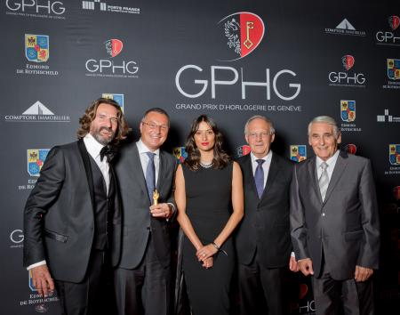 Frédéric Beigbeder (presenter), Jean-Christophe Babin (CEO of Bulgari, winner of the Jewellery Watch Prize 2014), Melanie Winiger (presenter), Johann Schneider-Ammann (Federal councillor) and Carlo Lamprecht (President of the Foundation of the GPHG)