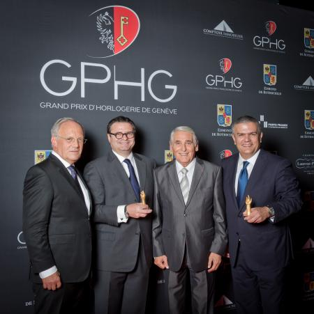 Johann Schneider-Ammann (Federal councillor), Aldo Magada (President & CEO of Zenith, winner of the Sports Watch Prize 2014), Carlo Lamprecht (President of the Foundation of the GPHG) and Ricardo Guadalupe (CEO of Hublot, winner of the Striking Watch Priz