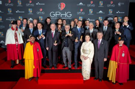 The Prize winners of the Grand Prix d'Horlogerie de Genève 2014 : Bart and Tim Grönefeld (Co-founders of Grönefeld), Kari Voutilainen (Founder of Voutilainen), Felix Baumgartner and Martin Frei (Co-founders of Urwerk), Pierre Jacques (CEO of De Bethune),
