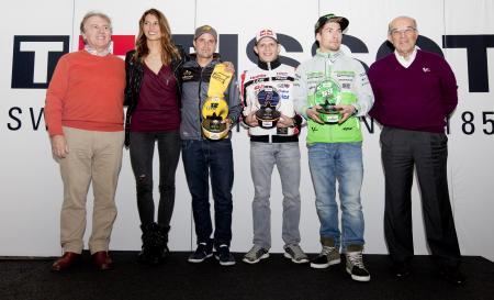 Collection Tissot MotoGP™ 2015 Premier - Francois Thiebaud and Carmelo Ezpeleta with Tissot ambassadors
