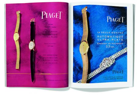 Piaget Ads. Left: Watches fitted with the Piaget 12P ultra-thin movement. c. 1960. Right: High jewellery secret watch and watch fitted with the Piaget 12P ultra-thin movement. c. 1960. ©Archives Piaget