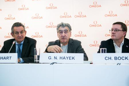 Swatch Group CEO Nick Hayek, Dr Christian Bock, the Director of METAS and Stephen Urquhart, President of OMEGA