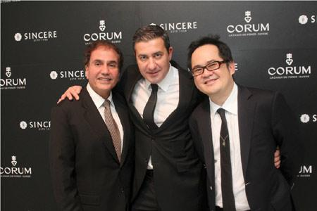 Victor Sassoon, General Director of Corum Singapore Pte Ltd; Antonio Calce, CEO of Corum; Ong Ban, CEO of Sincere Fine Watches.