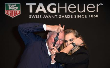 Cara Delevingne and Jean-Claude Biver, CEO of TAG Heuer and President of LVMH Watches Worldwide