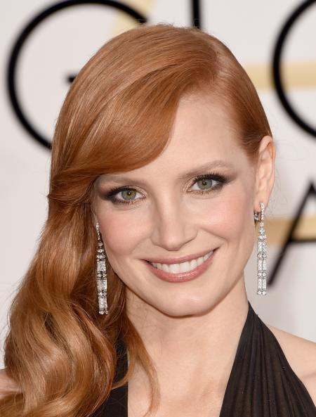 Jessica Chastain, the new face of the Piaget woman, at Golden Globes