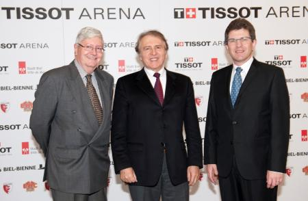 Hanspeter Rentsch from Swatch Group, Franc?ois Thiébaud, CEO of Tissor and Erich Fehr, mayore of Bienne