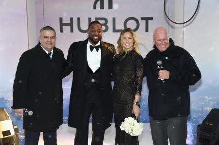 Ricardo Guadalupe, CEO of Hublot, Dwyane Wade, Bar Refaeli and Jean-Claude Biver, President of the LVMH Watch Division