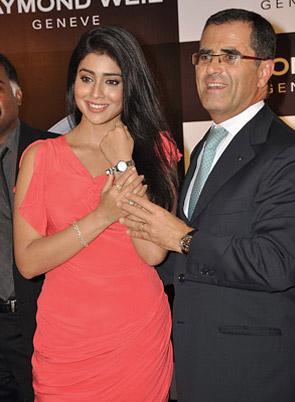 Chennai - Shriya Sharan being presented a RW watch by Mr Bernheim