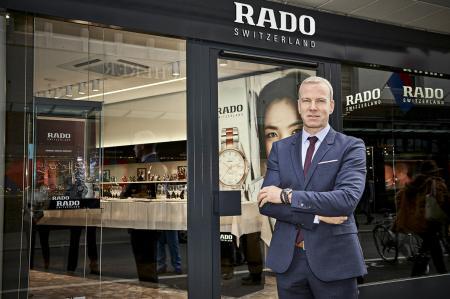 Rado CEO Matthias Breschan in front of the first Rado boutique in Switzerland