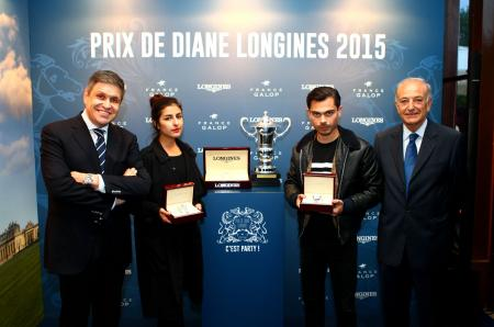 Juan-Carlos Capelli and Bertrand Bélinguier, with Nili Hadida and Benjamin Guimard of the music band Lilly Wood and the Pricks, who will open the 2015 edition of the Prix de Diane Longines with a show